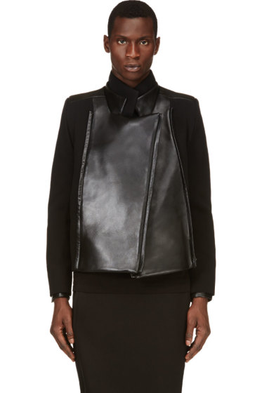 Rad by Rad Hourani - Black Leather Panel Jacket
