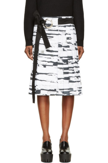 Anne Sofie Madsen - White Tree Bark Print Pleated Skirt