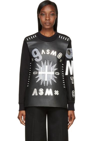 Anne Sofie Madsen - Black Patchwork Leather Dark Sun Sweater