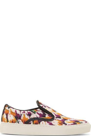 Mother of Pearl - Magenta Tulip Print Achilles Slip-On Sneakers