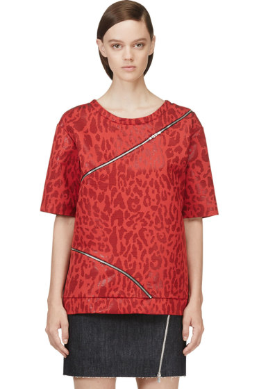 Jay Ahr - Red Jacquard Leopard Zip-Trimmed T-Shirt
