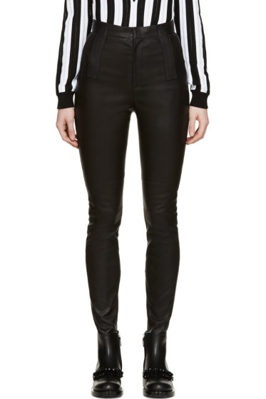 Givenchy - Black Leather Ribbed Jeans
