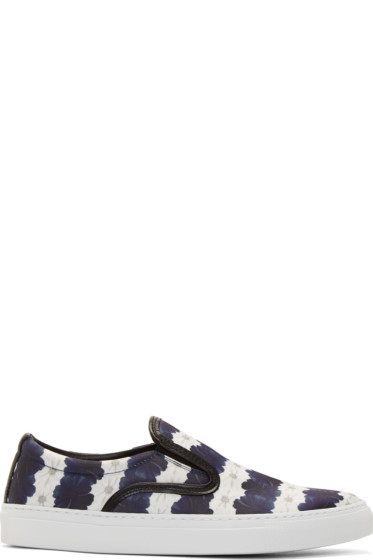 Mother of Pearl - White & Navy Floral Stripe Achilles Slip-On Sneakers