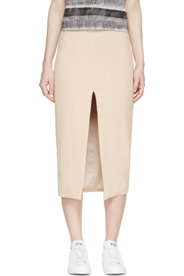 Filles a Papa - Nude Crêpe Split Pencil Skirt
