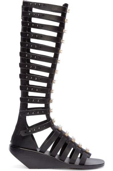 Rick Owens - Black & Silver Gladiator Cage Sandals