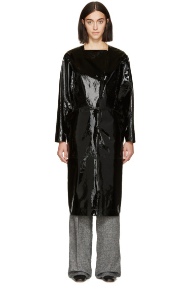 Loewe - Black Patent Asymmetric Opening Dress