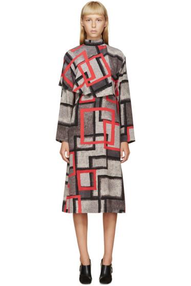 Loewe - Grey & Red Silk Dress