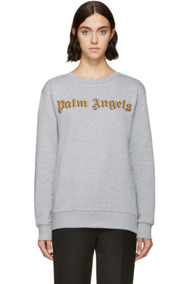 Palm Angels - Grey Embroidered Logo Bullion Sweatshirt