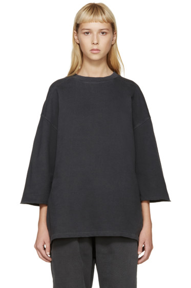 YEEZY - Grey Cropped-Sleeve Pullover