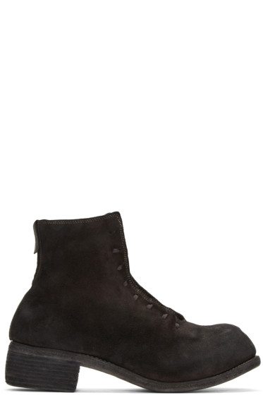 Guidi - Black Suede Lace-Up Boots