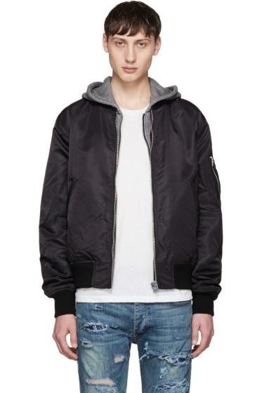 R13 - Black Hooded Flight Jacket