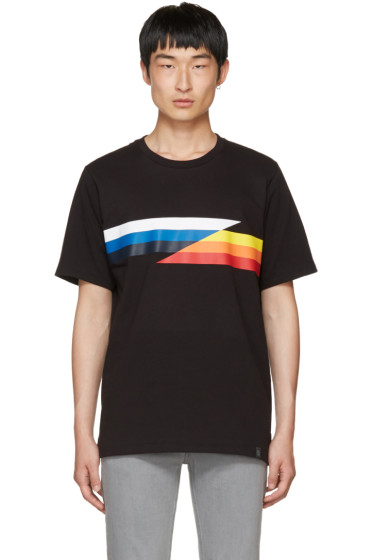 Rag & Bone - Black Glitch Stripe T-Shirt