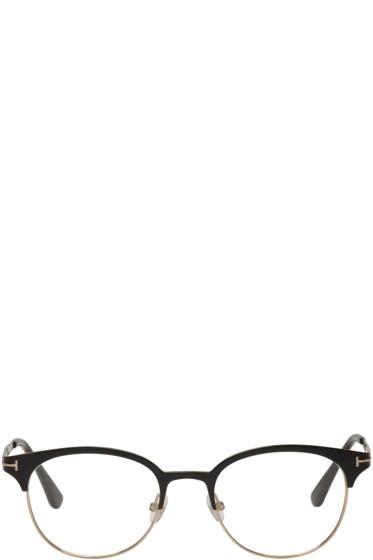 Tom Ford - Black & Gold Titanium Round Glasses