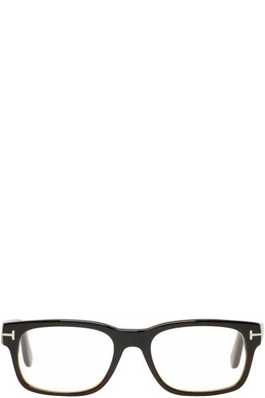 Tom Ford - Black & Tortoiseshell Square Glasses
