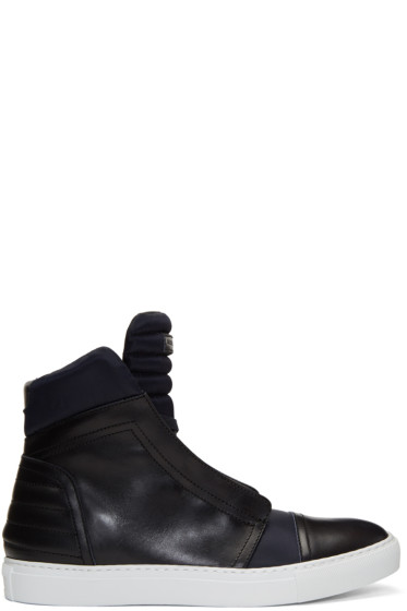 Diesel Black Gold - Navy Leather & Nylon High-Top Sneakers