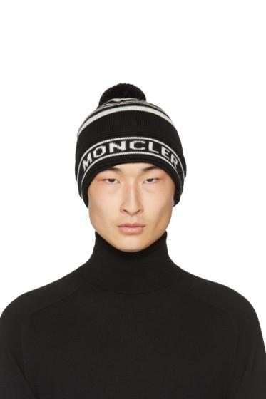Moncler - Black Striped Pom Pom Beanie
