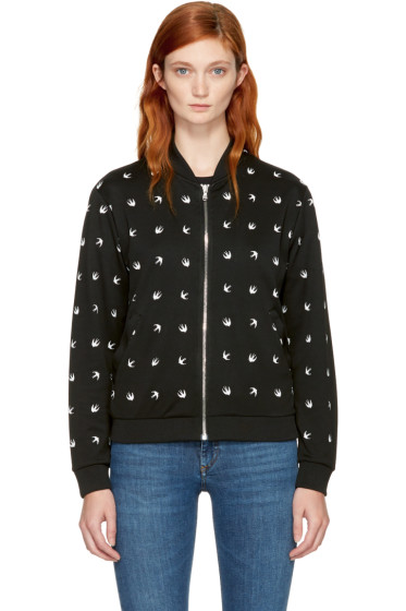 McQ Alexander McQueen - Black & White Micro Swallow Bomber Jacket