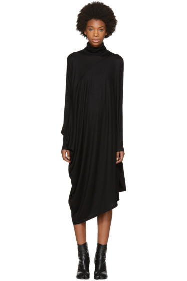 MM6 Maison Margiela - Black Draped Turtleneck Dress