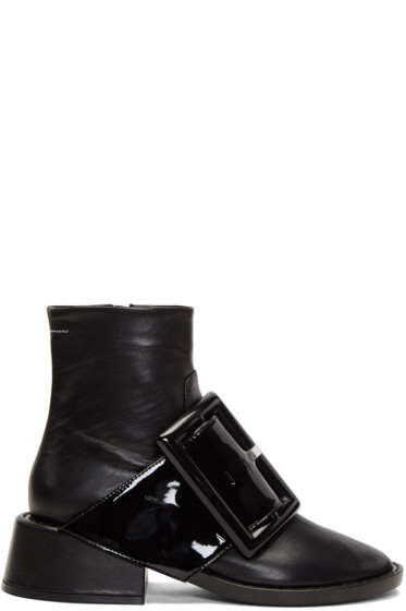 MM6 Maison Margiela - Black Oversized Buckle Boots