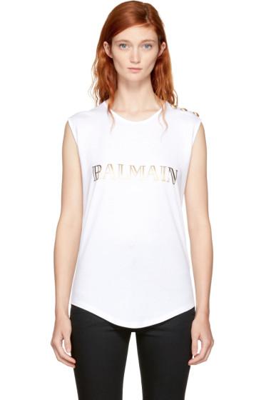 Balmain t shirts for women ssense for Balmain white logo t shirt