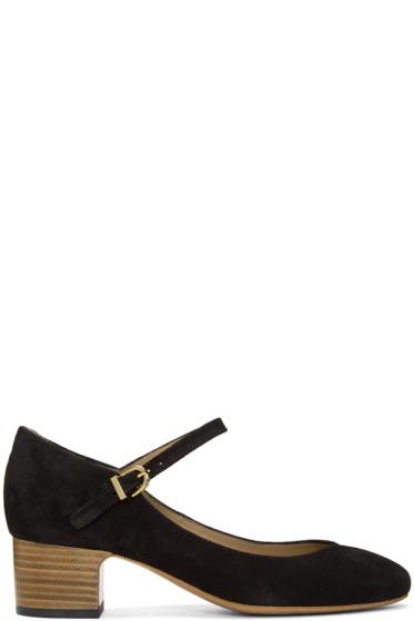 A.P.C. - Black Suede Victoria Heels