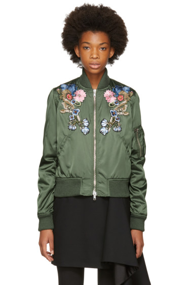 Alexander McQueen - Green Floral Embroidered Bomber Jacket