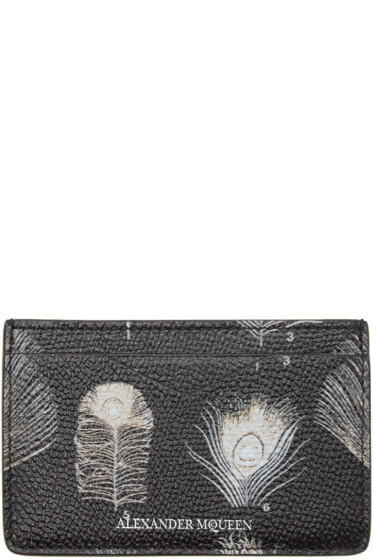 Alexander McQueen - Black & Off-White Peacock Feather Card Holder