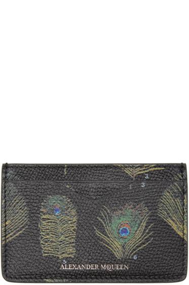 Alexander McQueen - Black & Multicolor Peacock Feather Card Holder