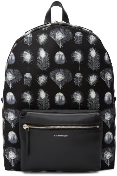 Alexander McQueen - Black & Off-White Peacock Feather Backpack