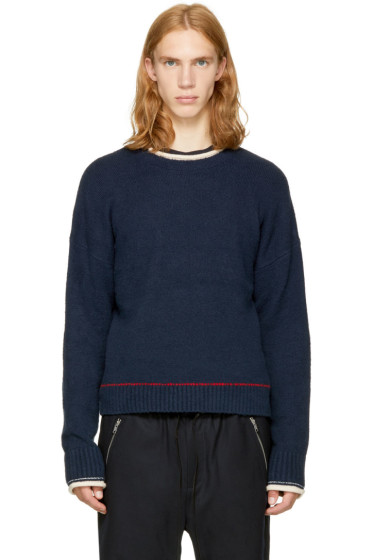 3.1 Phillip Lim - Navy Plaited Boxy Sweater