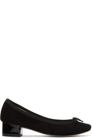 Repetto - Black Suede Camille Ballerina Heels