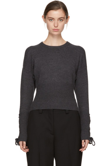 Neil Barrett - Grey Cropped Lace-Up Sleeve Sweater