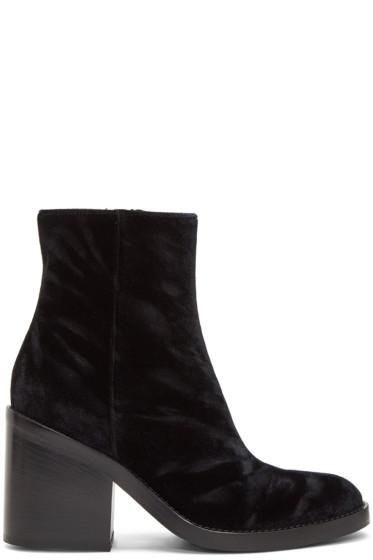 Ann Demeulemeester - Black Velvet Heeled Boots