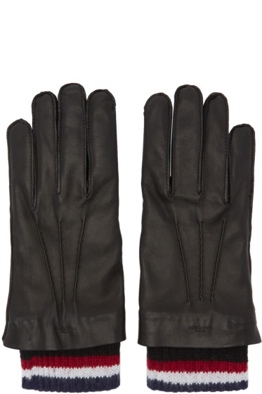 Thom Browne - Black Leather & Cashmere Exposed Seam Gloves