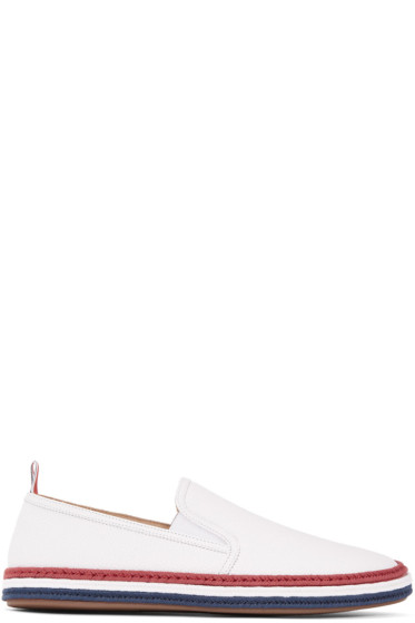 Thom Browne - White Leather Espadrilles