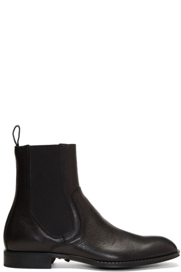 Versace - Black Leather Chelsea Boots
