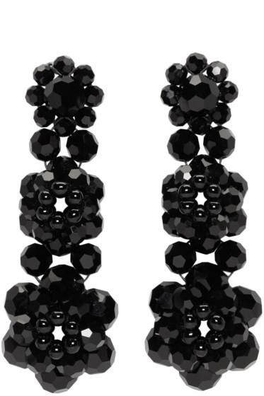 Simone Rocha - Black Perspex Three Tier Drop Earrings