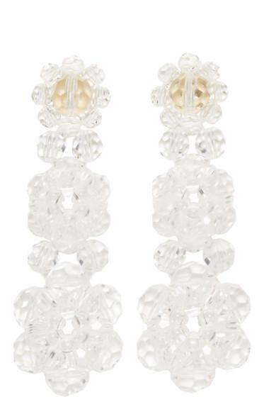 Simone Rocha - Transparent Perspex Three Tier Drop Earrings