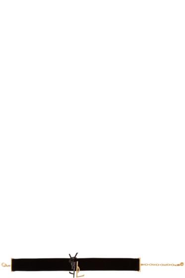 Saint Laurent - Black & Gold Velvet Deconstructed Monogram Choker