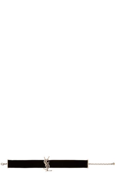 Saint Laurent - Black Velvet Deconstructed Monogram Choker