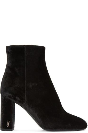 Saint Laurent - Black Velvet LouLou Zipped Boots