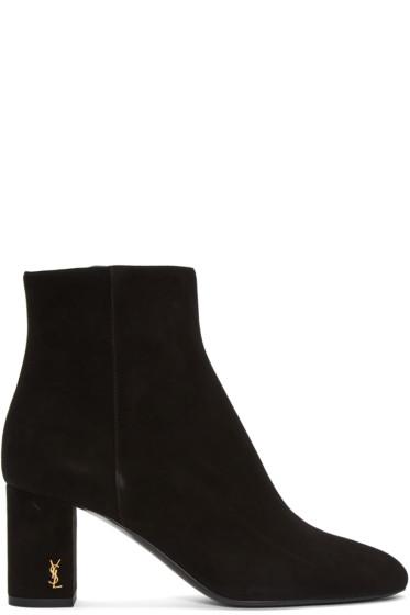 Saint Laurent - Black Suede LouLou Zipped Boots