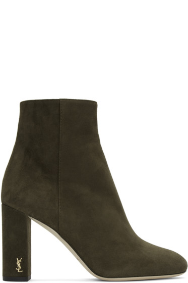 Saint Laurent - Green Suede LouLou Zipped Boots