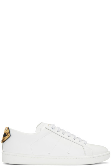 Saint Laurent - White & Gold Court Classic SL/01 Lips Sneakers