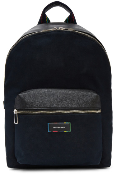 PS by Paul Smith - Navy Canvas & Leather Backpack
