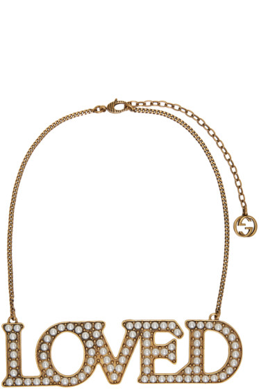 Gucci - Gold Pearl 'Loved' Necklace