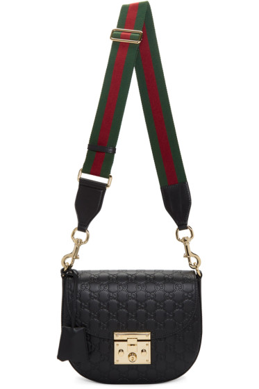 Gucci - Black Medium 'Gucci Signature' Padlock Bag