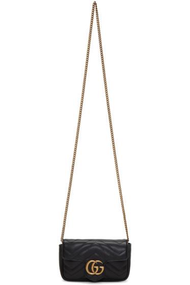 Gucci - Black Supermini GG Marmont Chain Bag