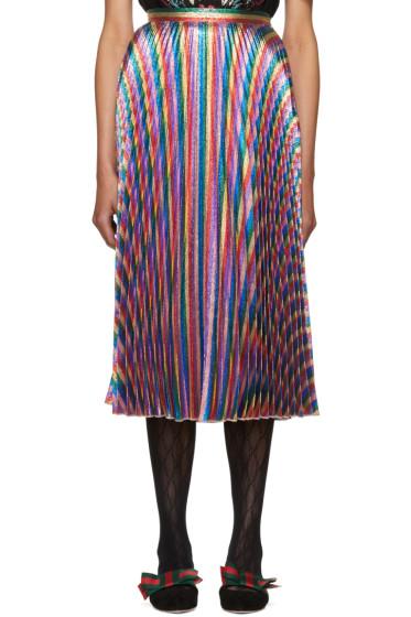 Gucci - Multicolor Lurex Plissé Skirt