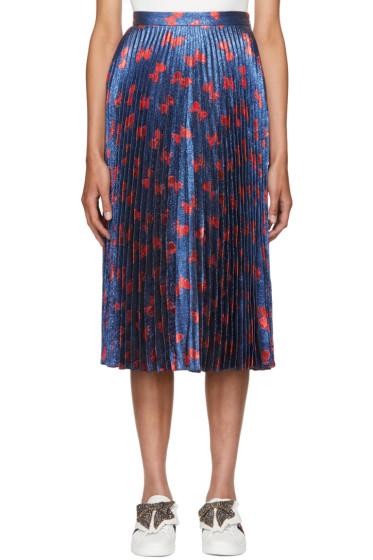 Gucci - Blue & Red Lurex Bow Plissé Skirt